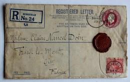 Registered Letter Winkfield 1932 Cachet De Cire Lettre Recommandée Claire Nancel Doën Tracy Le Mont Oise - Postmark Collection