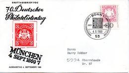 "BRD Schmuck-FDC: ""Philatelistentag, Garmisch-Partenkirchen"", Mi.601 ESSt 4.9.1969 BONN 1 - BRD"