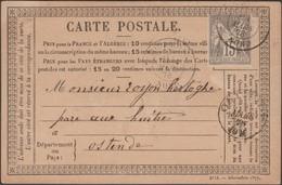 France 1877-1878 Y&T 77 Sur Carte Précurseur 34. 15 C Sur Jaune. Tourcoing à Ostende - Precursor Cards