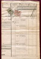 """ALSACE-LORRAINE : """" FRACHTBRIEF : PAGNY-SUR-MOSELLE Pou CHATEAUVILLAIN """" 1885 - Revenue Stamps"""