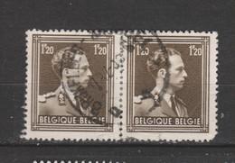 COB 845 En Paire Oblitération Centrale BRUXELLES - 1936-1957 Col Ouvert