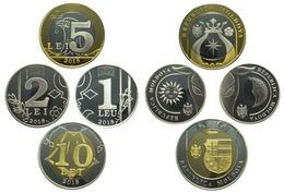 Moldova, 2018, Set Of 4 Coins 1,2,5,10 Lei UNC - Moldova