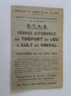 1934 Horaires - Service Automobile Du Tréport Et D'Eu à Ault Et Onival, Compagnie Du Chemin De Fer Du Nord, Somme - Europe
