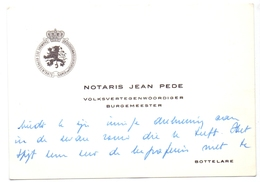 Visitekaartje - Carte Visite - Notaris Burgemeester & Volksvertegenwoordiger Jean Pede - Bottelare - Cartes De Visite