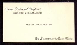 Visitekaartje - Carte Visite - Zetelmakerij Oscar Defenin - Weylandt - Gent Rabot - Cartes De Visite