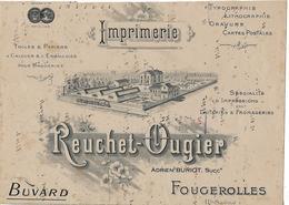 Buvard Imprimerie REUCHET-OUGIER 70 Fougerolles / Typographie, Lithographie, Gravure, Cartes Postales - Buvards, Protège-cahiers Illustrés