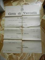 8g) CITTA' DI VERCELLI MANIFESTO SUI PREZZI DEL LATTE INGROSSO E MINUTO 1921 FORMATO 50 X 68,5 Cm STRAPPI NEI PUNTI DI P - Manifesti