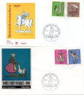 """BRD Schmuck-FDC: """"Wohlfahrt: Zinnfiguren"""", Mi. 604/07 ESSt 2.10.1969 BERLIN 12 - BRD"""