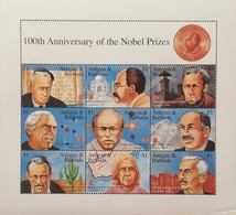 Antigua 1995 Establisfment Of Nobel Prize Fund, Cent.Sheet Of Nine - Antilles