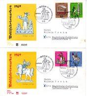 """BRD Schmuck-FDC: """"Wohlfahrt: Zinnfiguren"""", Mi. 604/07 ESSt 2.10.1969 BONN 1 - [7] République Fédérale"""