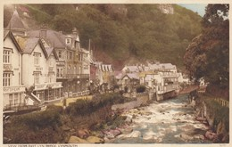 Postcard View From East Lyn Bridge Lynmouth Charabanc In Left Foreground My Ref  B13049 - Lynmouth & Lynton