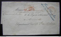 1863 Marque Grand Chancelier De La Légion D'honneur, Cachet Paris Bureau Des Contreseing Pour Marseille Cachet Au Revers - Marcophilie (Lettres)