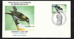 N.C.   Lettre Premier Jour Nouméa Le 26/08/1987 N° 542 Passerau Zosterops à Dos Vert  TB   ! ! ! - Uccelli Canterini Ed Arboricoli