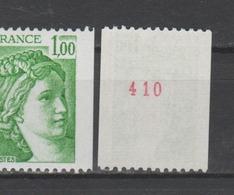 FRANCE / 1978 / Y&T N° 1981Aa ** : Sabine 1F Vert Roulette (n° Rouge) - Gomme D'origine Intacte - France