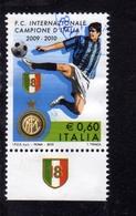 ITALIA REPUBBLICA ITALY REPUBLIC 2009 2010 CAMPIONATO DI CALCIO LO SCUDETTO ALL'INTER USATO USED OBLITERE' - 2001-10: Usati