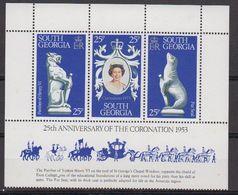South Georgia 1978 25th. Ann. Of Coronation 3v From Sheetlet ** Mnh (42489B) - Zuid-Georgia