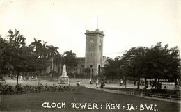 Jamaica, B.W.I., KINGSTON, Parish Church, Clock Tower (1910s) RPPC Postcard - Jamaica