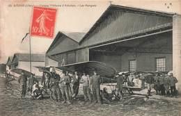 Avion Soldat Militaire Aerodrome 18 Avord Centre Militaire D' Aviation Les Hangars Cpa Carte Animée Belle Animation - 1914-1918: 1ère Guerre