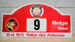 PANNEAU PUBLICITAIRE BELGA TEAM VETERAN CAR CLUB DU RALLYE DES ARDENNES 15/16 MAI  47cmX23cm - Car Racing - F1