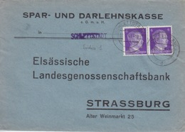 P Lettre à Entête (S.u.D. Schlettstadt) Obl Sélestat (T326 Schlettstadt 1d) Sur TP Reich 6pfx2=1°éch Le 7/1/43 - Marcophilie (Lettres)
