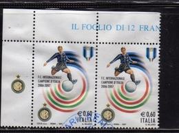 ITALIA REPUBBLICA ITALY REPUBLIC 2007 LO SCUDETTO ALL'INTER CAMPIONE DI CALCIO € 0,60 USATO USED OBLITERE' - 2001-10: Usati