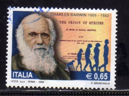 ITALIA REPUBBLICA ITALY REPUBLIC 2009 CHARLES DARWIN € 0,65 USATO USED OBLITERE' - 6. 1946-.. Republic