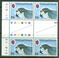 Falkland Is: 1980   Birds Of Prey  SG387w   25p    [Wmk Crown To Left Of CA]     MNH Gutter Block Of 4 - Falkland Islands