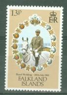 Falkland Is: 1981   Royal Wedding  SG403w   13p   [Wmk Inverted]  MNH - Falkland Islands
