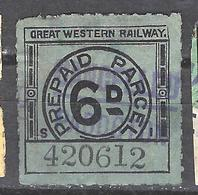 GB-UK Railway Parcel Post  Stamp.Great Western Railway .6d. Rare . Used. Revenues/.Trains/Railways/Eisenbahnmarken - Trains