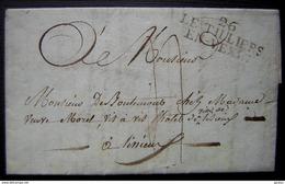 1821 LE TILLIERS/EN-VEXIN (Eure) Marque Noire (40x16)  Sur Lettre Avec Correspondance, Voir Photos - Marcophilie (Lettres)