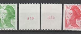 FRANCE / 1982 / Y&T N° 2191a/2192a ** : Liberté Roulette (2 TP Avec N° Rouges) X 1 - Ungebraucht