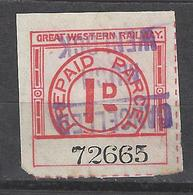 GB-UK Railway Parcel Post  Stamp.Great Western Railway .1d. Rare . Used. Revenues/.Trains/Railways/Eisenbahnmarken - Eisenbahnen