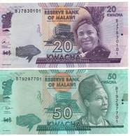 MALAWI  New Date 20 & 50 Kwacha   Dated   1st January 2017 & 1st June2018  UNC    ( P63c  & P64e ) - Malawi