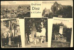 Gruss Aus Diez An Der Lahn Totalansicht Rezeptur Mit Schloss Krieger Denkmal Schlossbrunnen  Karl Zimmermann - Diez