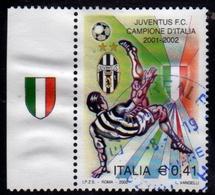 ITALIA REPUBBLIC ITALY REPUBLIC 2002 LO SCUDETTO ALLA JUVENTUS CAMPIONE DI CALCIO USATO USED OBLITERE' - 2001-10: Usati