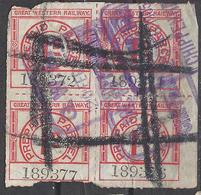 GB-UK Railway Parcel Post  Stamp.Great Western Railway .1d Block  Rare . Used. Revenues/.Trains/Railways/Eisenbahnmarken - Eisenbahnen