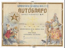 """PORTUGAL - SUPERBE TELEGRAMME ILLUSTRE """"AUTOGRAFO"""" NOËL De LISBONNE - Lettres & Documents"""