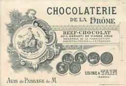 CARTE DE VISITE ET PUBLICIAIRE ANCIENNE - BEEF CHOCOLAT - USINE A TAIN - Publicités