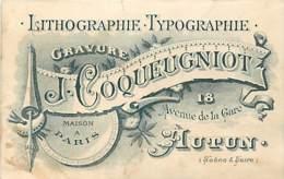 CARTE DE VISITE ET PUBLICIAIRE ANCIENNE - J. COQUEUGNIOT - AUTUN - Publicidad