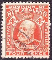 NEW ZEALAND 1910 KEVII 4d Orange SG396 Used - 1907-1947 Dominion