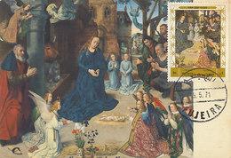 D36912 CARTE MAXIMUM CARD 1971 FUJEIRA - ADORATION OF THE SHEPHERDS BY VAN DER GOES CP ORIGINAL - Religione