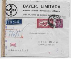 PORTUGAL - 1943 - ENVELOPPE RECOMMANDEE AVION De BAYER à LISBONNE Avec CENSURE => WIEN (AUTRICHE / ALLEMAGNE) - Lettres & Documents