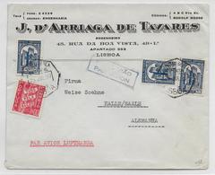 PORTUGAL - 1937 - ENVELOPPE Par AVION De LISBONNE => HALLE (ALLEMAGNE) - Lettres & Documents
