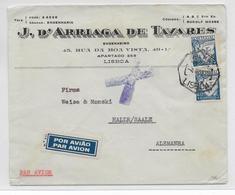 PORTUGAL - 1938 - ENVELOPPE Par AVION De LISBONNE => HALLE (ALLEMAGNE) - Lettres & Documents