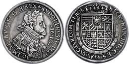 Taler, 1610, Rudolf II., Hall, Mm. Ferdinand Leffler, Dav. 3007 Var., Ss.  Ss - Oesterreich