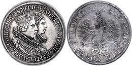 Doppeltaler, O.J. (1635), Leopold, Hall, Hochzeit Mit Claudia Medici, Graffito Auf Dem Avers, Ss+ - Oesterreich
