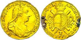 Souverain D'or (5,48g), 1775, Maria Theresia, Brüssel (Engelskopf), Eypeltauer 449, Fb. 138, Fassungsspuren/Broschierspu - Oesterreich