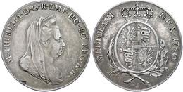 Scudo, 1780, Maria Theresia, Mailand, Schrötlingsfehler, Avers Leicht Berieben, Ss.  Ss - Oesterreich