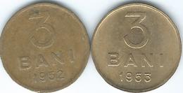Romania - People's Republic - 3 Bani - 1952 (KM82.1) & 1953 (KM82.2) - Roemenië
