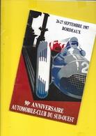 Programme  1987 Courses Voitures BORDEAUX 20 Pages + Couverture Format A5 - Cars
